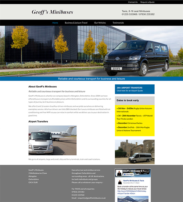 Website design and development for minibus business