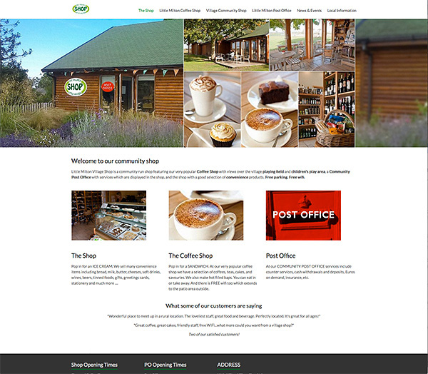 Website design and development for community shop